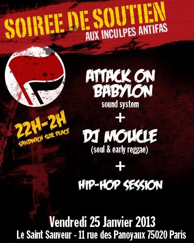 Paris, 25/01 : soirée de soutien aux antifas