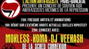 Paris : concert de soutien avec les antifascistes victimes de la répression