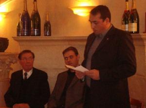 P. Sidos, Y. Benedetti et C. Georgy lors de la première rencontre militante de l'Œuvre française à Dijon, le 8 janvier 2009. (REFLEXes)