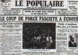 Une du Populaire le 6 février 1934
