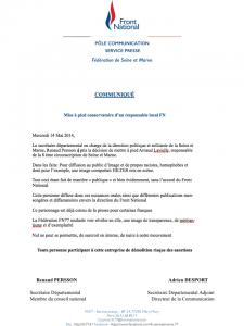 communiqué de presse FN77 dit m'exclusion de Arnaud Lavielle