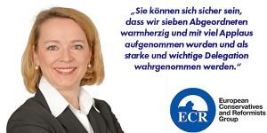 « Soyez assurés que les 7 députés ont été chaleureusement accueillis et applaudis, et que nous serons une délégation qui comptera. », Ulrike Trebesius, élue de l'AfD pour le Schleswig-Holstein