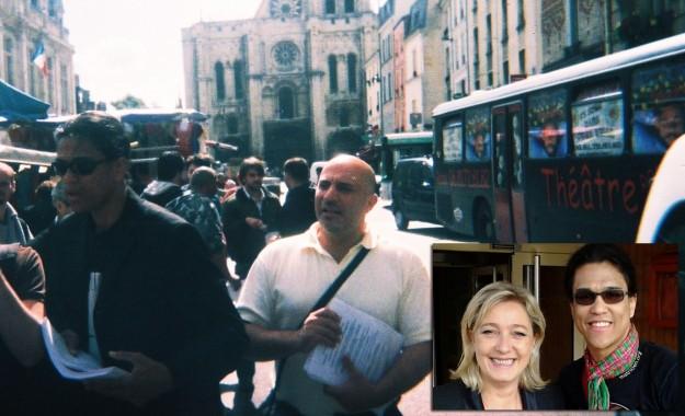 Ici à St-Denis avec à ses côtés Franscesco Condemi, compagnon de Béatrice Pignède, et en arrière-plan les bus de Dieudonné. En médaillon, «Le Sachen» avec Marine Le Pen.
