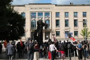 Manifestation antifasciste à Hayange en juin 2014, organisée (entre autres) par la CNT Moselle.