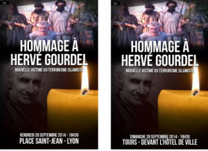 A gauche, le visuel du rassemblement organisé par Génération Identitaire à Lyon ; à droite, le visuel relayé par Mériguet pour Tours