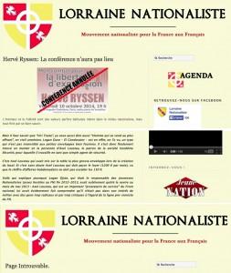 Le texte de Ryssen a été relayé par plusieurs sites d'extrême droite, dont celui de Lorraine nationaliste, proche de la clique de Benedetti. On y voit (au centre) l'extrait en question. Mais depuis, la page est introuvable (en bas)…