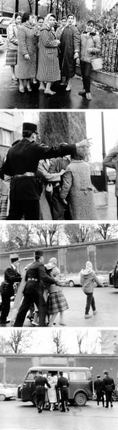 Photos de femmes arrêtées à Paris en octobre 1961 (crédits : Elie Kagan).