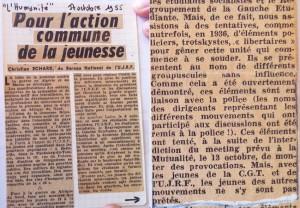 Les accusations mensongères dans l'Humanité, édition datée du 17 octobre 1955.