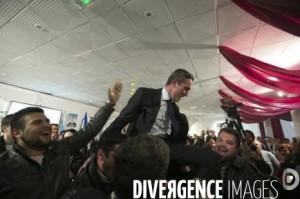 Marseille le 30 mars 2014, 2nd tour des municipales. Ravier est porté par les militants d'Action Française : Anthony Mura et sur la droite Maxime Montel. (Photo : Patrick GHERDOUSSI / Divergence)