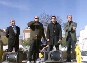 Manifestation à Marseille le 6 mars 2010. De gauche à droite : Jacques Bompard, Philippe Vardon, Julien Langella, Ronald Perdomo.