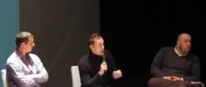 Fabrice Robert, Damien Rieu et Philippe Vardon , lors d'une convention des Identitaires en 2012