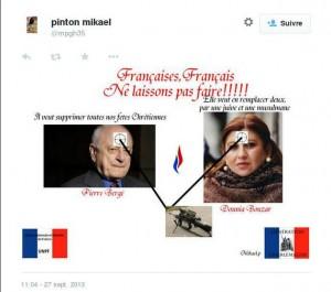 Le photo-montage poétique tweeté et supprimé par Mikaël Pinton