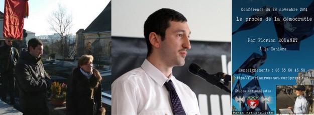 De gauche à droite : Rouanet rend hommage à Brasillach, fait le kéké à la fête de l'OF, fait une conférence à Lyon…