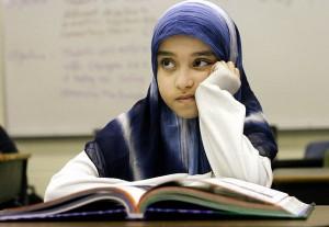 Écolière musulmane en Russie.