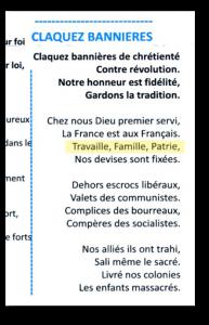 À propos de chant, voici un extrait d'un flyer distribué l'après-midi et appelant à la sauvegarde de la France… Mais pas de son orthographe !