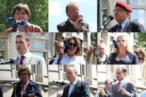 De haut en bas, et de gauche à droite : Stéphanie Bignon, Pierre Sidos, Roger Holeindre, Thibaut de Chassey, Jany Le Pen, Marie d'Herbais, Marion Sigaut, Carl Lang et Elie Hatem.