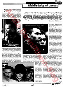 La photo ci-après montre une page d'une publication antifa pour la jeunesse d'octobre 1994, avec une photo de Frank Steffen à Fulda en 1993, lors de la manifestation en mémoire de Rudolf Hess.