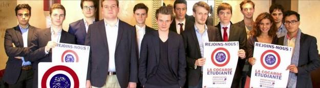 Au centre, avec le t-shirt noir, Maxime Duvauchelle, président de la Cocarde étudiante.