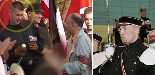 À gauche, Norbert Weidner à Fulda en 1993, face au néonazi français Claude Cornilleau (avec le brassard PNFE). À droite, le même en 2000 lors du Burschentag der Deutschen Burschenschaft. source : Antifa Infoblatt