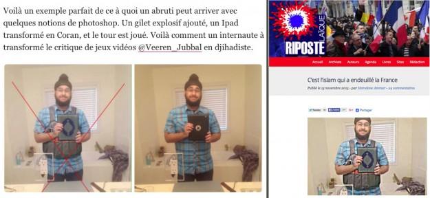 À gauche, le démontage de la photo truquée par Libération. À droite, l'utilisation de la photo par Riposte laïque.