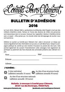 Adhésion Comité pour Clément
