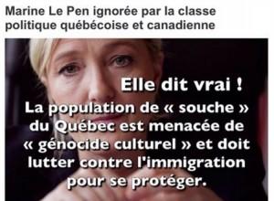 """Visuel de Pegida Québec, emprunté à la page FB """"Loi 101""""."""