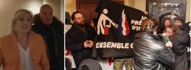 Marine Le Pen toute constipée, avec son toutou Légier derrière ; à droite, une antifa agressée par un sympathisant FN.