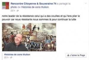 """Rencontre Citoyenne & Souveraine et son """"leader de la résistance qui a des couilles"""", soit Thierry Borne."""