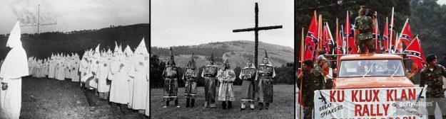 De gauche à droite, le KKK à Stone Mountain en 1948, 1971 et 1989.