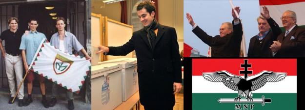 De gauche à droite : Kocsis au Miép dans sa jeunesse et aujourd'hui ;   István Csurka et Jean-Marie Le Pen en 2003 ; le logo du Magyar Nemzeti Part.