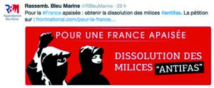 Pétition anti-antifa du Front national (avril 2016).