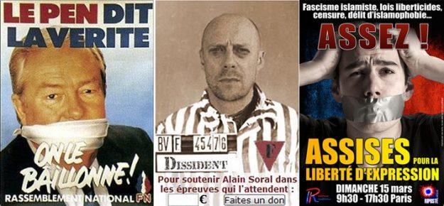 En haut : déjà dans les années 1980, Le Pen criait à la censure. Au milieu : Alain Soral insulte la mémoire des déportés à son seul profit. En bas : Riposte laïque assimile islamophobie et liberté d'expression.