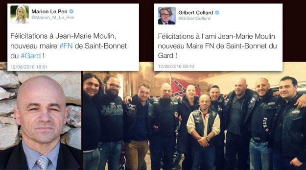 """À gauche, """"Monsieur le Maire"""" Jean-Marie Moulin félicité par les pontes locaux du Front ; à droite avec ses amis bikers."""