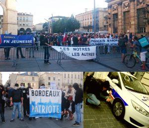 """En haut : Sur leur barrière de parcage, le slogan """"les nôtres avant les autres"""" – un slogan repris aux fascistes du Bloc Identitaire. EN bas à droite, l'Action française, et à gauche, le royco """"Ragnar Ticho"""", qui n'a pas peur du ridicule, s'affiche faisant le beau… caché derrière une voiture de flics!"""