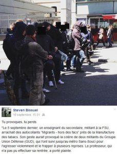 Le GUD devant Lyon3 en juin dernier. En-dessous, le commentaire lapidaire de leur petit chef sur l'agression de septembre.