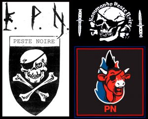 Les différents logos utilisés par Peste noire : un goût certain pour les symboles d'extrême droite.