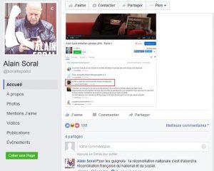 La preuve en image. Elle est tirée du facebook de Soral lorsqu'il répond à son collègue « national-socialiste » Daniel Conversano à propos de « la réconciliation ».