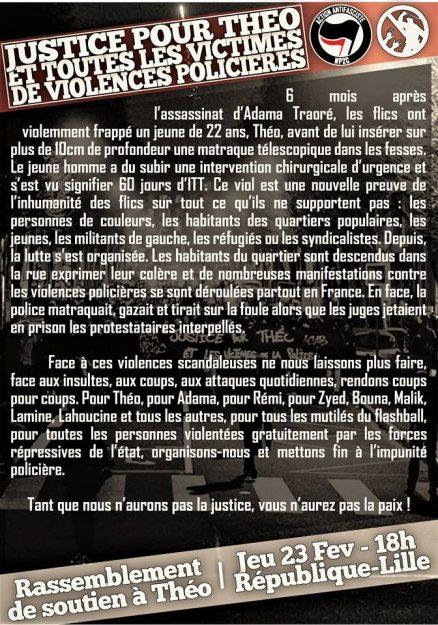 Lille : rassemblement de soutien à Théo @ République | Lille | Hauts-de-France | France