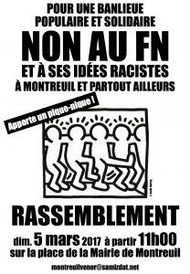 Montreuil (93) : rassemblement anti-FN @ Montreuil | Île-de-France | France