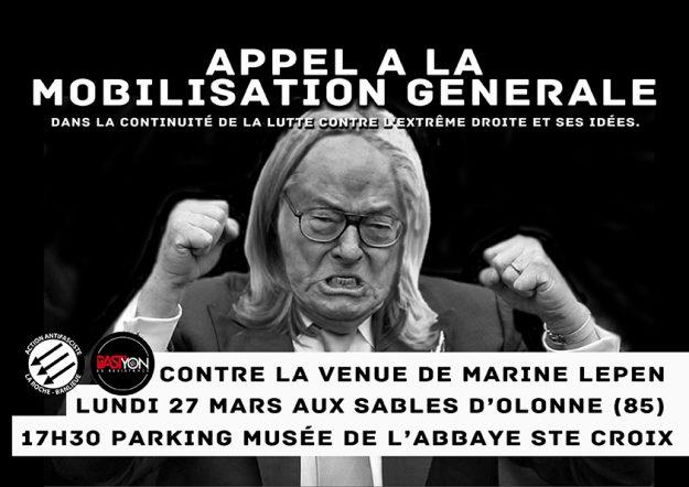 Les Sables d'Olonne (85) : mobilisation contre le venue de Marine Le Pen @ Parking musée de l'Abbaye Sainte Croix | Les Sables-d'Olonne | Pays de la Loire | France