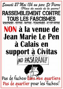 Calais : Rassemblement contre toute forme de fascisme!!! @ Calais | France