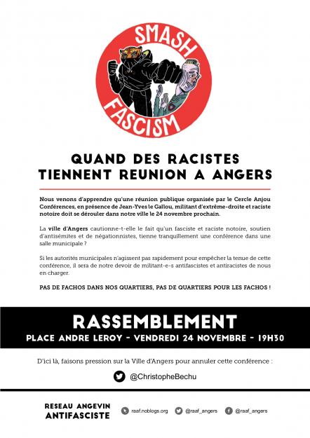 Angers : rassemblement contre la venue de Le Gallou @ Angers | Pays de la Loire | France