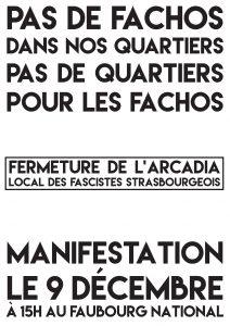 appel à la manif contre l'Arcadia à Strasbourg le 09 12 2017
