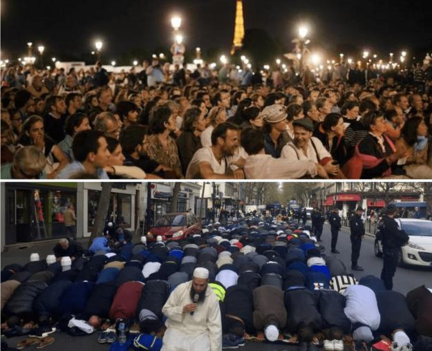 En haut, les Veilleurs en plein Paris le 31 août 2014. En bas, des musulmans à Clichy.