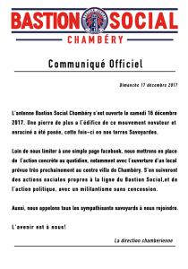 communiqué officiel de Bastion Social Chambéry