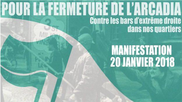 manif pour la fermeture de l'arcadia à Strasbourg le 20 janvier 2018