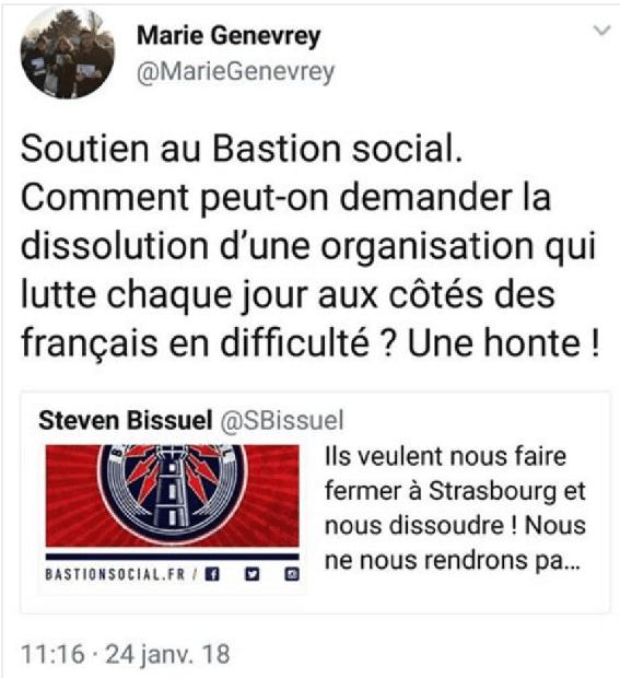 Marie Genevrey (FN), soutient le bastion social