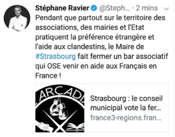 Stéphane Ravier, maire Fn de Marseille, soutien le Bastion social.