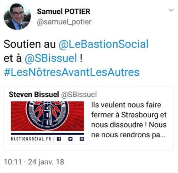 Samuel Potier (FN) soutient le bastion social et reprend le slogan des identitaires.