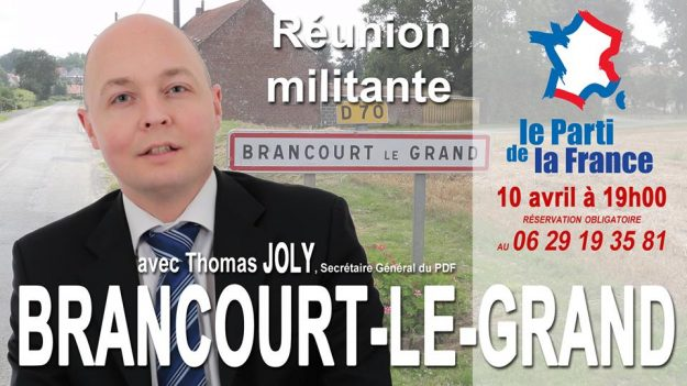 Thomas Joly à une réunion du Parti de la France le 10 avril 2015 à Brancourt le Grand